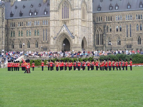 Marching band in front of Centre Block