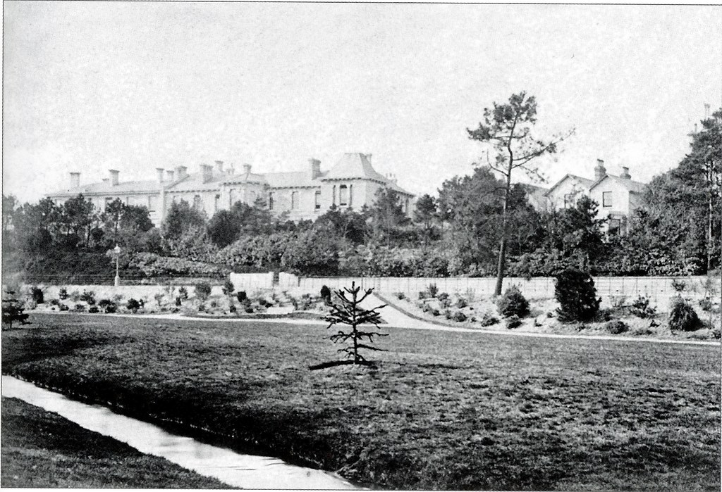 BOURNE AVENUE FROM THE CENTRAL PLEASURE GARDENS. BOURNEMOUTH. DORSET. 1875
