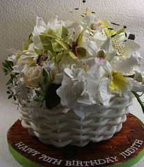 Basket of flowers cake (elizabethscakeemporium) Tags: wood board effect cattleyaorchid sugarbutterflies woodeffect basketweavecake cymbidiumorchids sugarroses sugarorchids sugarhydrangeas sugarlilies elizabethsolaru sugarfreesias basketofflowerscake sugargreenery eliabethscakeemporium