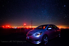 Toyota Nights (Darren White Photography) Tags: nightphotography night oregon canon stars washington windmills toyota pacificnorthwest redlight labordayweekend windfarm redlights klondike yaris starrynight 1740l clearnight darrenwhite darrenwhitephotography 5dmkii pacificnorthwestnights