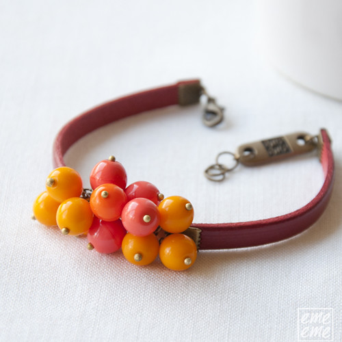 Bracelet -  Red leather with orange glass beads