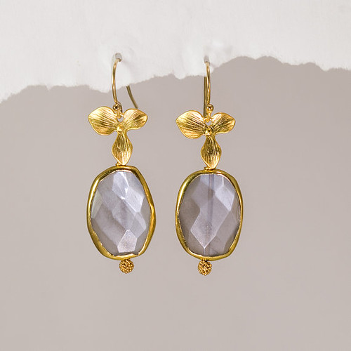 22k gold orchid grey moonstone earrings