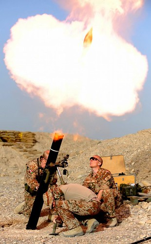 Danish Soldiers Fire Mortar Rounds from Patrol Base in Afghanistan