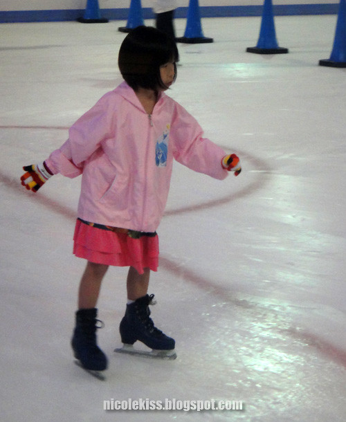 little skating pink girl