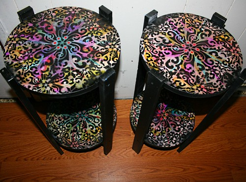 Pair of Accent Tables by Rick Cheadle Art and Designs