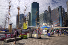Pier 17, New York (JayGriffin) Tags: new york nyc sky fish ny skyline scrapers canon buildings boats pier market district ships tourist dos 7d boardwalk 17 mast mm financial stalls seaport 1022