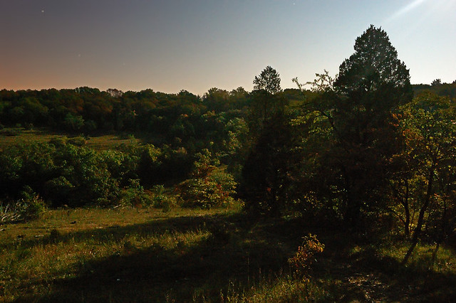 Valley View Glades Natural Area, near Morse Mill, Missouri, USA - view with long shadows, by moonlight