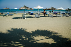 Shadow of the Palm Tree (Truebritgal) Tags: blue shadow sea vacation sky holiday tree beach leaves umbrella lens sand nikon cyprus sunny palm mackenzie palmtree nikkor recliner larnaca 18200mm mackenzy d7000 truebritgal