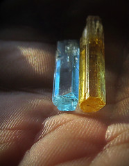 Vietnamese Aquamarine And Heliodor (Sea Moon) Tags: blue macro yellow hexagonal clear refraction mineral transparent beryl gemstones specimens prismatic