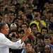 President Barack Obama makes a point during his speech in Reynolds Coliseum.