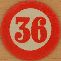 Cardboard Bingo Number 36 (Leo Reynolds) Tags: squaredcircle 36 number xsquarex numberbingo bingo lotto loto houseyhousey housey housie housiehousie numberset group9 bingoset19 canon eos 40d 002sec f80 iso100 60mm sqset068 xleol30x groupnine hpexif 30s xx2011xx xxtensxx