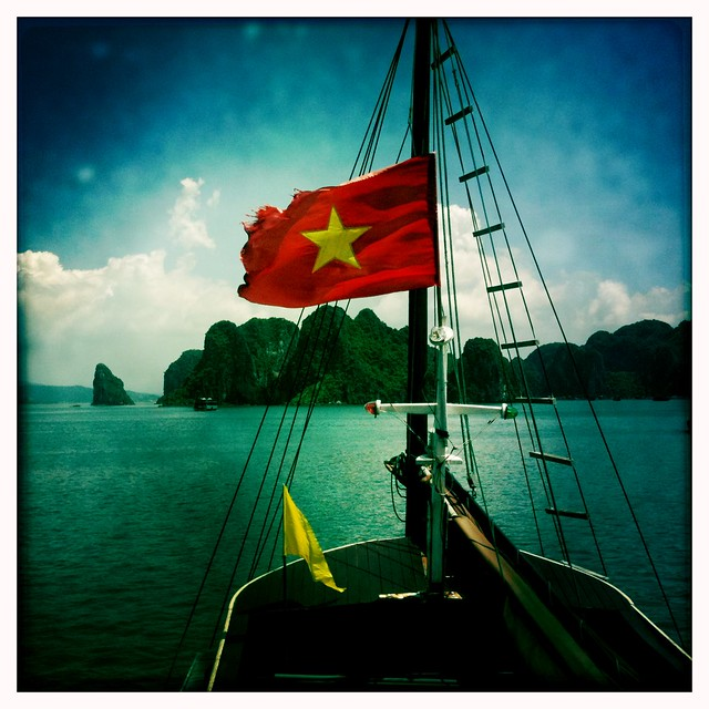 Cruising through the bay, Halong Bay, Vietnam