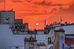 Rooftops of Paris (AJ Brustein) Tags: city roof sunset red chimney sky urban orange sun paris france green art window saint st yellow skyline loft night clouds canon studio de aj concrete bathroom evening bedroom cityscape view apartment angle cloudy courtyard des pot condo jungle monet rue hdr antenna germain stafford pres brustein 50d furstemberg rooftopsshingls