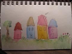 some watercolored houses (of course)
