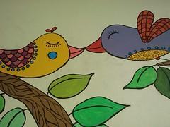 Casal in love (Tatit) Tags: tree colors birds wall cat cores paint gato rvore parede pintura passarinhos