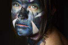 Blue (Lou Bert) Tags: blue portrait woman art girl face make up yellow self triangle paint shapes makeup