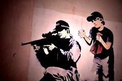 Banksy, Sniper and Child (Jack Clarke) Tags: street blue boy red art hospital dark bristol mouse graffiti artwork stencil rat gun child framed centre banksy croft weapon sniper piece stokes trap signed