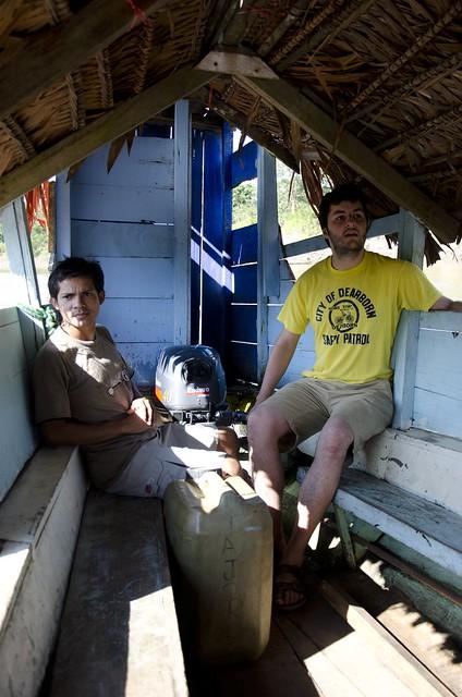 Randy driving the big boat