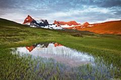 Mt. Dyrfjll / Door Mountain (1136 m) - East Iceland (skarpi - www.skarpi.is) Tags: travel reflection green island iceland moss pond hiking path july trail traveling sland mosi jl tjrn 2011 austurland hra borgarfjordur borgarfjrur njarvk dyrfjoll dyrfjll gnguleiir strur austur rjpnafell ur skarpi gngulei brslan skarphinnrinsson urardalur storurd sandaskr sfjall