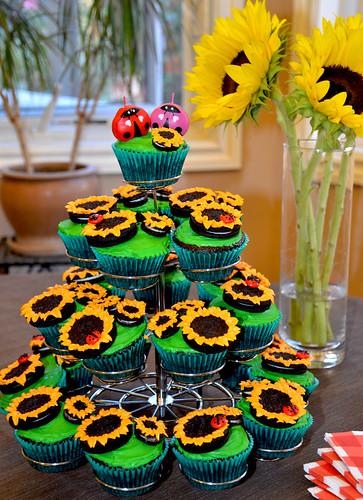 Sunflower and Ladybug Cupcake Tower