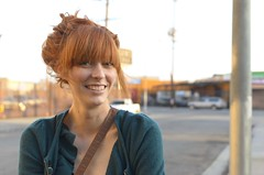 Sarah (a kindly stranger) Tags: red portrait smile 35mm losangeles sweater nikon pretty natural redhair d7000