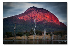Lake Moogerah, Queensland (Matthew Stewart | Photographer) Tags: trees light red sky cliff mountain lake water face grass dead mt dam overcast australia mount qld queensland edwards alford greville moogerah aug202011
