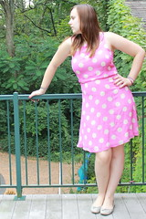 Outfit - Vintage pink polkadot dress