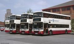 MTL lineup at Woodside, Merseyside, 1998 (Lady Wulfrun) Tags: mtl birkenhead wirral layover merseyside 1895 pte parkingarea 0291 silverservice parkedup 0276 0274 mpte n276ckb n274ckb n291ckb xem895w