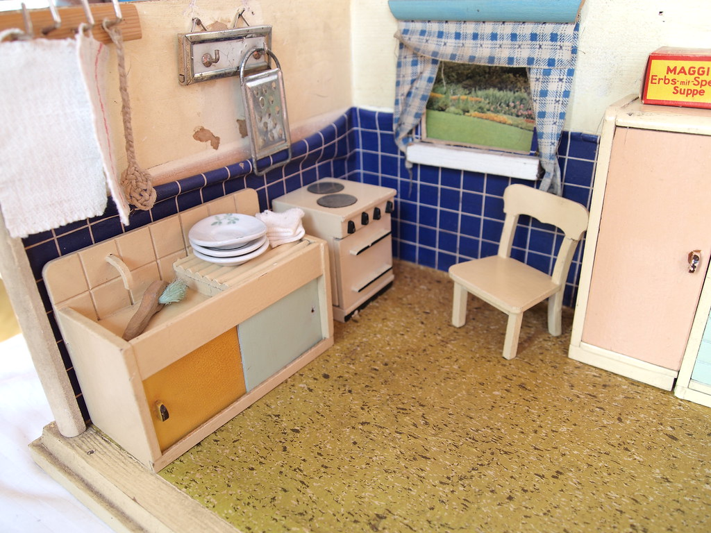 1950s dolls kitchen with a patio - furniture