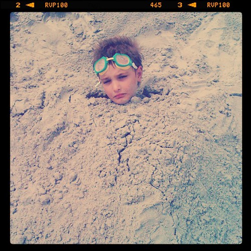 Eli in sand sad