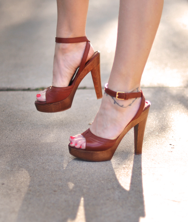 YSL shoes-cognac sandals -70's inspired platforms +wood + leather