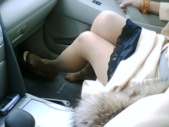 Lace & legs (wildweb2011) Tags: beautiful lady fur fox lacey flashing antje sexylegs minidress legshowincar