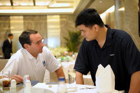 August 22, 2011 - Yao Ming visits with Duke Coach Mike Krzyzewski in Beijing