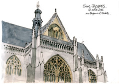 Lige, glise Saint-Jacques (gerard michel) Tags: architecture sketch belgium aquarelle gothic watercolour gothique lige croquis