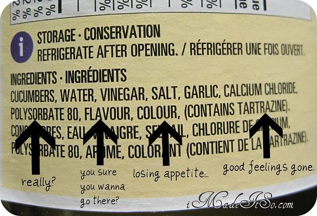 ingredient label on pickles jar