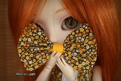 Shy girl  [Explored] (_Lalaith_) Tags: orange flower green yellow eyes hands acrylic dress shy redhead melody bow carrot ribbon pullip ginny lalaith rewigged