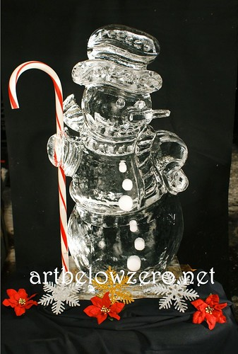 Snowman 3D w Candy Cane  ice sculpture