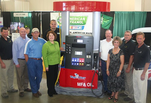 "Partners celebrating ""choices for consumers at the pump"" at the Missouri Corn Growers blender pump exhibit at the Missouri State Fair."