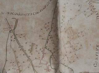 """""""Mappa dei fondi sottoposti alla decima nei territori di Villapizzone [...]"""" del 1769: particolare"""