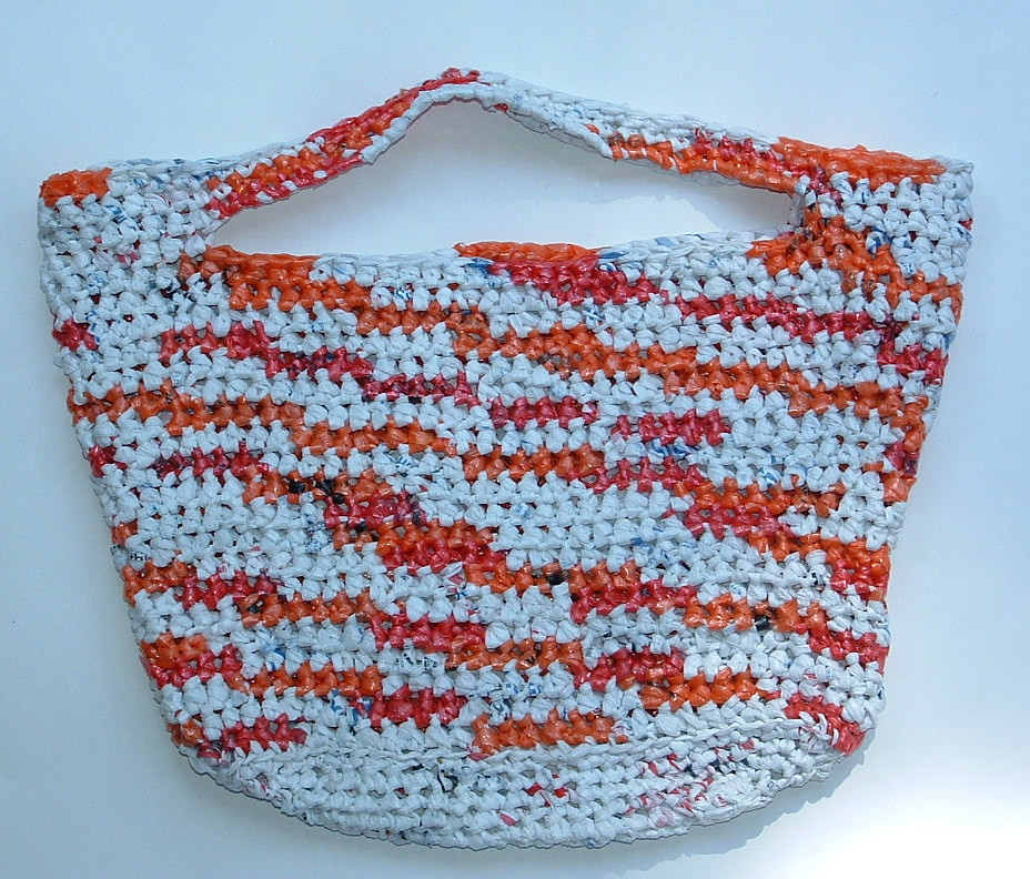 Crocheting Using Plastic Bags : Variegated Plarn Tote Bag My Recycled Bags.com