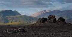 Highlands Landscape (janet little jeffers) Tags: mountain rock blacksand lava iceland highlands desert layer emstrur