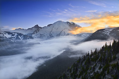 Setting into the Mist (David Shield Photography) Tags: sunset mist mountain color nature fog clouds landscape nikon peak explore cascades pacificnorthwest washingtonstate mtrainier mtrainiernationalpark emmonsglacier littletahoma explored sunrisearea bestcapturesaoi