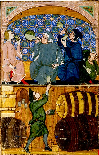 Gluttony., tavern drinking.  Italy c.1330-40. Add. 27695 BL. by tony harrison