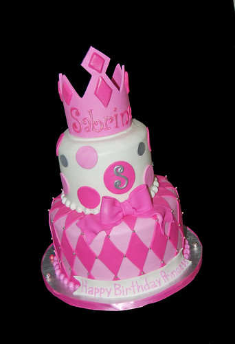 pink white and silver 2 tier tiara cake