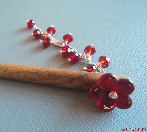 Red Glass Bead Flower Hairstick