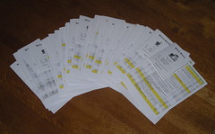A stack of brevet cards and cue sheets