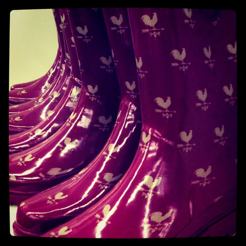 Of course I was highly tempted to buy these cheap rain boots with roosters on them.