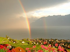 rainbow on the lake (mujepa) Tags: lake switzerland rainbow village suisse geneva lac vineyards lman vignes cully arcenciel vaud lavaux abigfave mygearandme bbng rememberthatmomentlevel1 rememberthatmomentlevel2 rememberthatmomentlevel3