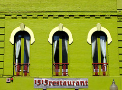1515 Restaurant (Colorado Sands) Tags: windows usa signs building brick green window sign architecture facade america restaurant us arquitectura colorado downtown exterior unitedstates denver structure explore signage architektur curtains dining marketstreet amerika faade finedining eatery lodo paintedbrick rideaux awardofexcellence milehighcity explored threediamonds sandraleidholdt denverrestaurants cityandcountyofdenver greenrestaurants leidholdt sandyleidholdt 1515restaurant 1515marketstreet