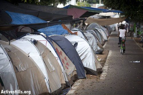 The tent city along Rothschild Boulevard in Tel Aviv stretched for over a mile this summer.